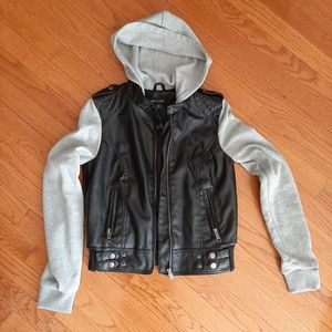NEW LOOK mixed jacket leather look ladies sz S